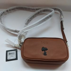 Coach x Peanuts Snoopy Brown Leather Crossbody NWT